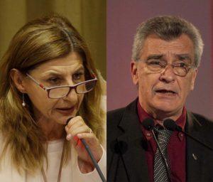 Giusi Nicolini (t.v.) och Spyridon Galinos. Foto GN: TT Nyhetsbyrån